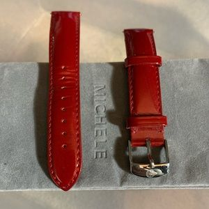 Michele red patent leather watchband